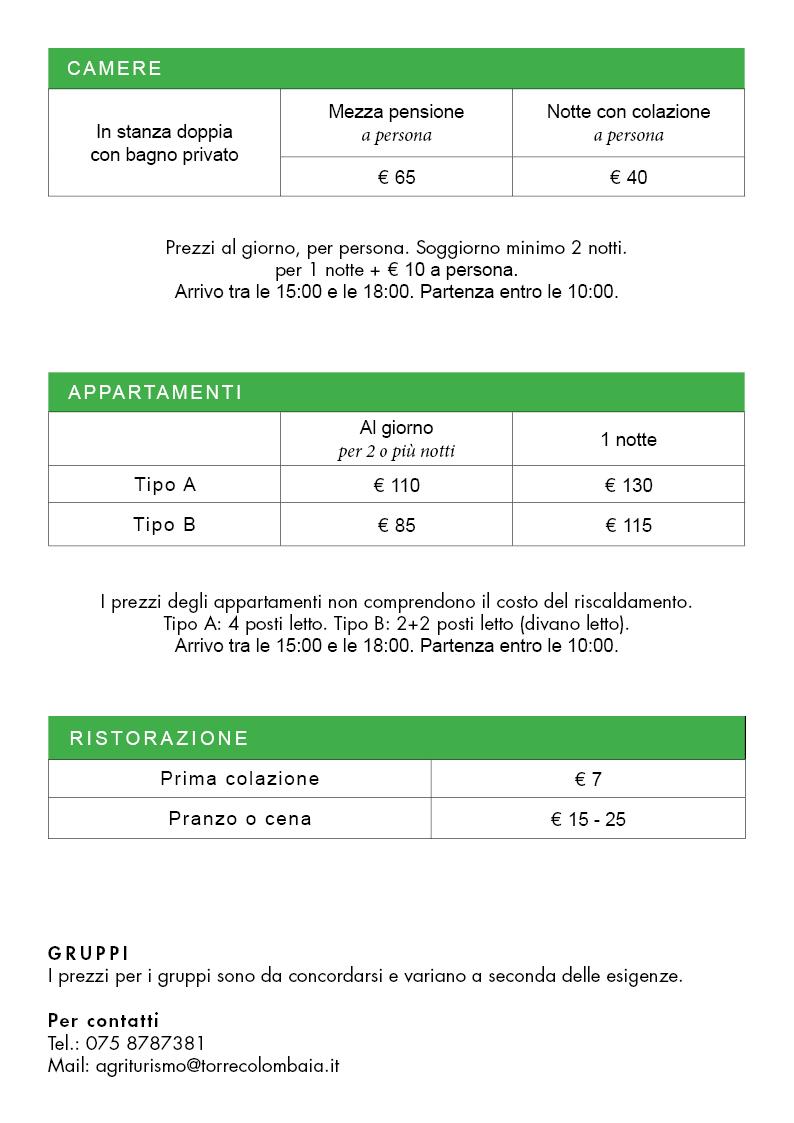 Tariffe Camere Appartamenti e Ristorazione Torre Colombaia